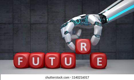 Der Roboter Hand mit roten Würfeln und Text Zukunft. 3D-Abbildung.
