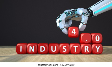 A robot hand with red cubes with the text Industry 4.0. 3d illustration.