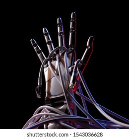 Robot Hand Rising Up Through Computer Cables Artificial Intelligence Concept 3d Illustration on Dark Background