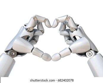 Robot hands form heart shape 3d rendering