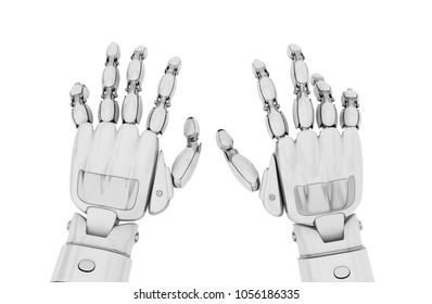 Robot hands working on the empty keyboard, or playing the unvisible piano, or something typing over white. Isolated on a white background. 3d illustration.