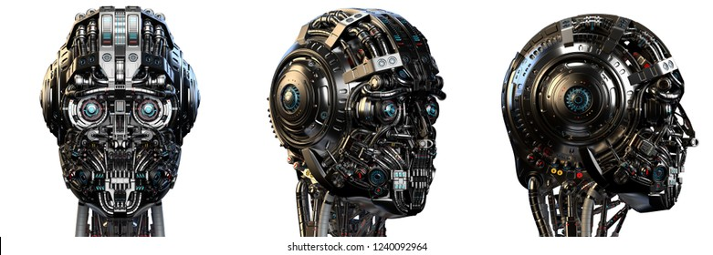 Robot head or very detailed cyborg face. Set of three different angles isolated on white background. 3D Render.