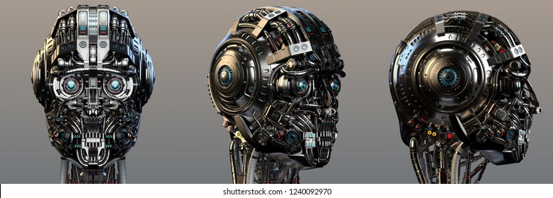 Robot head or very detailed cyborg face. Set of three different angles. Isolated. 3D Render.