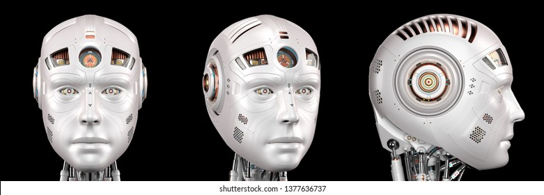 Robot head or very detailed cyborg face. Set of three different angles isolated on black background. 3D Render.