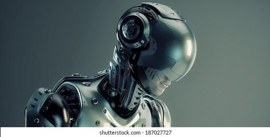 Robot in helmet / 3d rendered robotic Girl in helmet