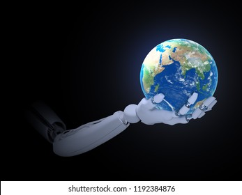 A robot holding a globe- robotics technology concept 3D illustration