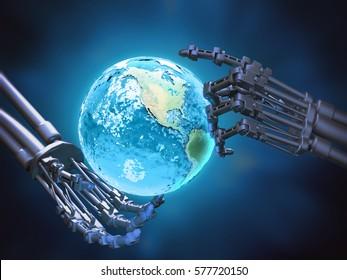 A robot holding a globe- robotics technology concept 3D illustration