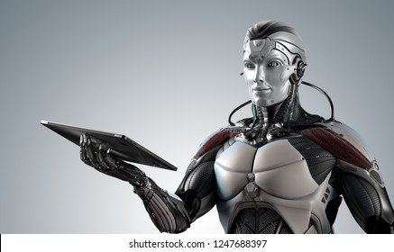 Robot holding laptop in right hand against digital virtual background, 3d rendering