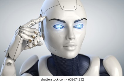 Robot holds a finger near the head. 3D illustration