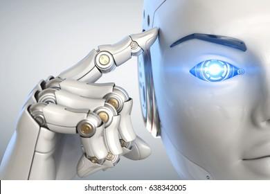 Robot sostiene un dedo cerca de la cabeza. Ilustración 3D