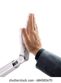 Robot and Human Giving a High Five. Artificial Intelligence Technology Concept 3d Illustration
