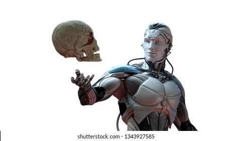 Robot and human skull artificial intelligence concept, 3d render