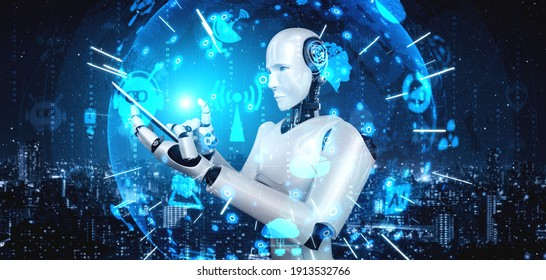Robot humanoid use mobile phone or tablet for global network connection using AI thinking brain , artificial intelligence and machine learning process for 4th industrial revolution . 3D illustration.