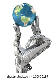 Robot keep the blue globe. Planet Earth in hands at high technology. Conceptual 3d illustration. Elements of this image are furnished by NASA
