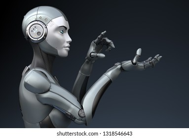 Robot is looking at something in his hand. 3D illustration