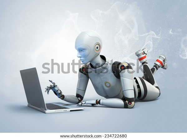 Robot lying on floor and using laptop