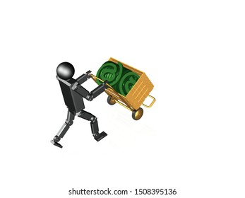 Robot with mail sign on white background, 3D illustration.