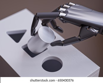 Robot Makes Wrong Decision Trying to Match Geometric Primitives in Shape Sorter Game Closeup. Machine Learning Neural Network Concept 3d Illustration