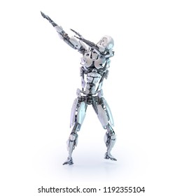 Robot making dab move, dancing, dabbing. Artificial intelligence technology concept, isolated. Futuristic science fiction element. Clipping path included. 3D illustration