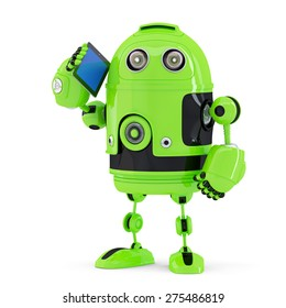 Robot with mobile phone. Isolated on white. Contains clipping path