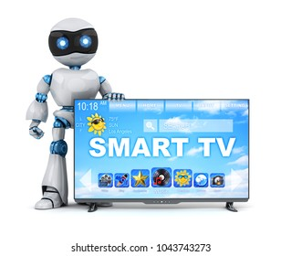 Robot and modern smart TV. 3d illustration