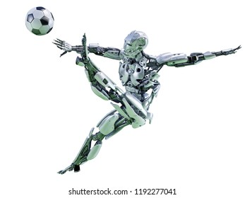 A robot playing football, kicking soccer ball. Sport concept. Clipping path included. 3D illustration
