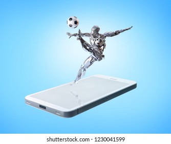 A robot playing football,kicking soccer ball in action on the smartphone. Sports mobile application concept. Clipping path included. 3D illustration