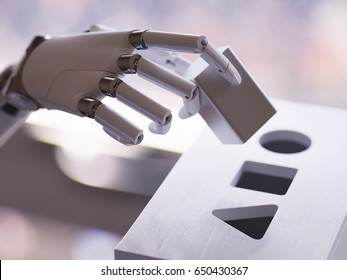 Robot Playing Shape Sorter Toy Closeup. Artificial Intelligence and Machine Learning Concept 3d Illustration