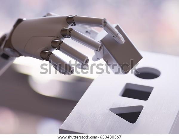 Робот играет форму сортировщика игрушки крупным планом. Искусственный интеллект и машинное обучение Концепция 3d Иллюстрация