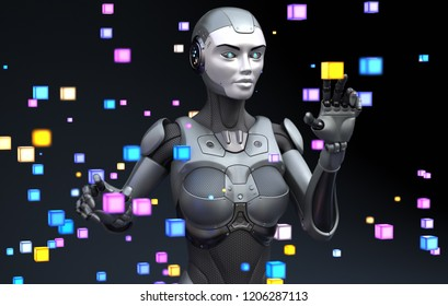 Robot playing with virtual objects. 3D illustration