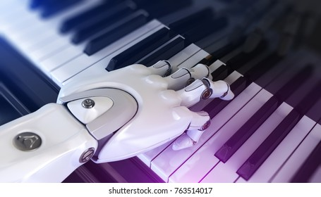 Robot Plays the Piano. 3d Illustration