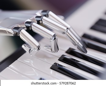Robot Plays the Piano Artificial Intelligence Concept 3d Illustration Close-up