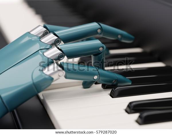 Un robot joue le concept d'intelligence artificielle du piano Illustration 3d en gros plan