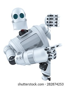 Robot pointing on banner. Isolated on white. Contains clipping path