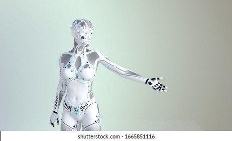 Robot points in different directions with the hand. Robot figure isolated on light background, for your further editing. 3D illustration