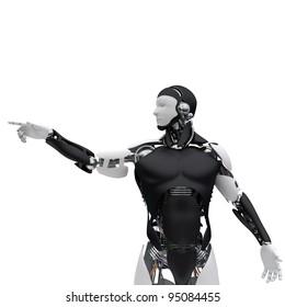 The robot pushes a virtual button