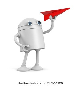 Robot with red paper plane. 3d illustration
