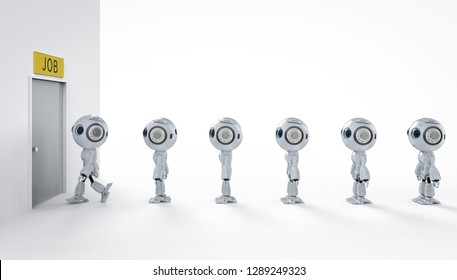 Robot replace human job concept with 3d rendering robot walk in line to recruitment