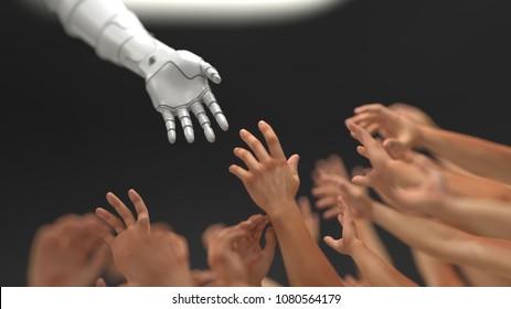 robot rescue people, 3d illustration