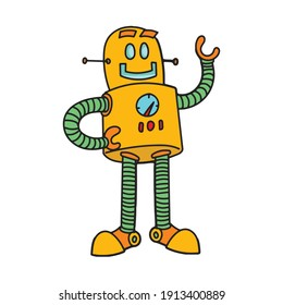 Robot retro cartoon freehand illustration