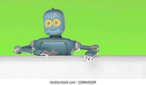 Robot retro vitage peeks out from behind the walls banner. 3d Render.