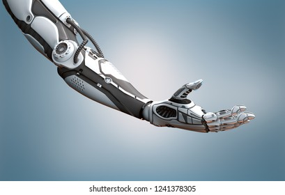 Robot right arm highly detailed model on digital modern background, 3d rendering