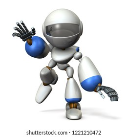 Robot running swiftly while swinging both hands. He runs toward here. 3D illustration