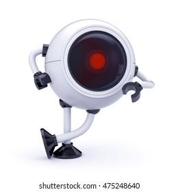 Robot security CCTV camera. 3d illustration
