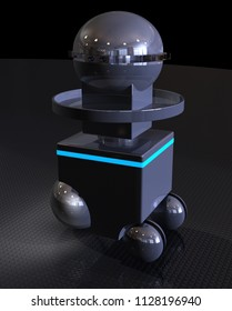 Robot Servitor in Low Light Conditions - 3D Illustration