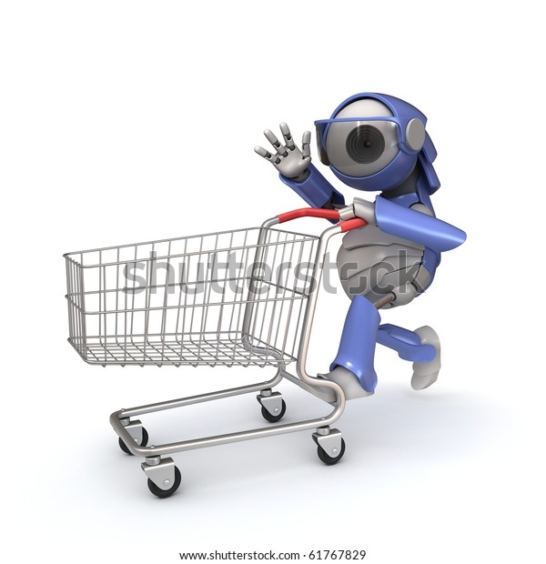 Robot Shopping Cart Stock Illustration 61767829