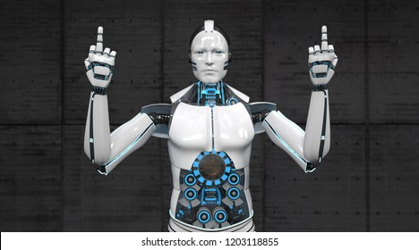 The robot shows two fingers. 3d illustration.