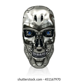 Robot skull with metallic surface and blue glowing eyes smiling isolated on white background, 3D rendering