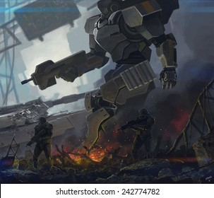 robot and soldiers