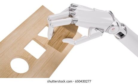Robot Sorts Geometric Shapes Closeup. Machine Learning and Recognition Concept 3d Illustration